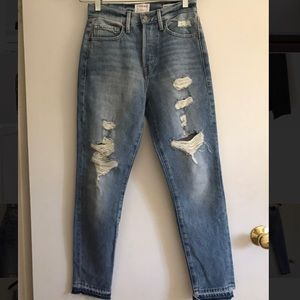 Frame distressed high rise jeans